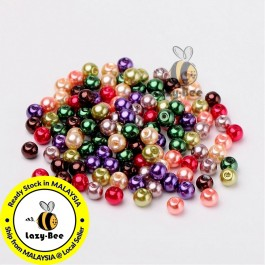BC100: Fall Mix Pearlized Glass Pearl Beads 6mm, about 200 pieces