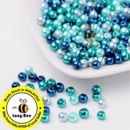 BC102: Carribean Blue Mix Pearlized Glass Pearl Beads 4mm, about 400 pieces