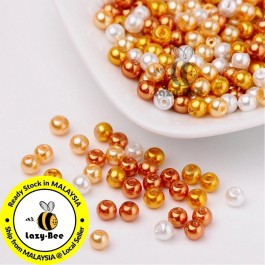 BC104: Caramel Mix Pearlized Glass Pearl Beads 4mm, about 400 pieces