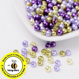 BC105: Lavender Garden Mix Pearlized Glass Pearl Beads 4mm, about 400 pieces