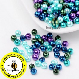 BC106: Ocean Mix Pearlized Glass Pearl Beads 4mm, about 400 pieces