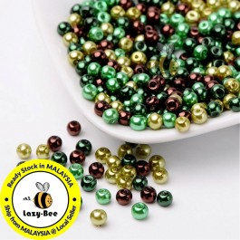 BC107: Choc-Mint Mix Pearlized Glass Pearl Beads 4mm, about 400 pieces
