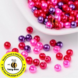 BC108: Valentine's Mix Pearlized Glass Pearl Beads 4mm, about 400 pieces