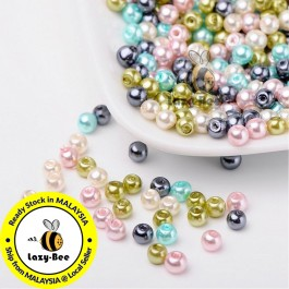 BC109: Pastel Mix Pearlized Glass Pearl Beads 4mm, about 400 pieces