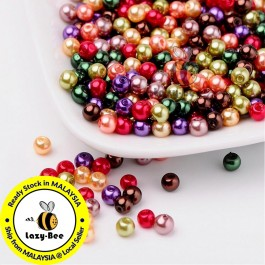 BC110: Fall Mix Pearlized Glass Pearl Beads 4mm, about 400 pieces