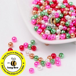 BC111: Christmas Mix Pearlized Glass Pearl Beads 4mm, about 400 pieces