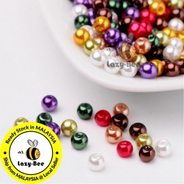 BC113: Luster Mix Pearlized Glass Pearl Beads 4mm, about 400 pieces