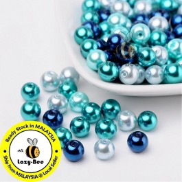 BC114: Carribean Blue Mix Pearlized Glass Pearl Beads 8mm, about 100 pieces