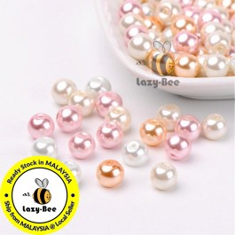 BC116: Barely Pink Mix Pearlized Glass Pearl Beads 8mm, about 100 pieces