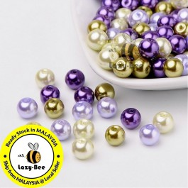 BC120: Lavender Mix Pearlized Glass Pearl Beads 8mm, about 100 pieces