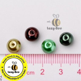 BC121: Choc-Mint Mix Pearlized Glass Pearl Beads 8mm, about 100 pieces
