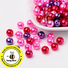 BC123: Valentine's Mix Pearlized Glass Pearl Beads 8mm, about 100 pieces