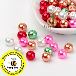 BC125: Christmas Mix Pearlized Glass Pearl Beads 8mm, about 100 pieces