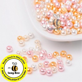 BC127: Barely Pink Mix Pearlized Glass Pearl Beads 4mm, about 400 pieces
