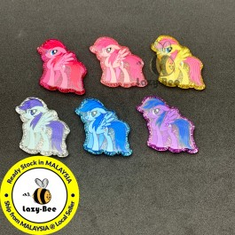 SA800: 6 pieces Mixed A Pony Glitter Resin 29x34mm