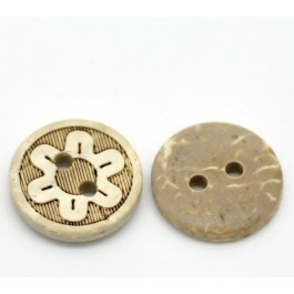 B19968: 60 pieces Natural Flower Pattern Coconut Shell Buttons 13mm [ B13 ]