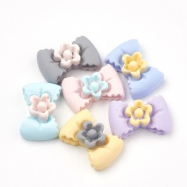 SA699: Bownot with Flower 20x13mm, 20 pieces [ B02 ]