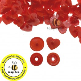 KM301: BRIGHT RED B1: HEART Shape KAM Glossy Snap Button, 50 sets