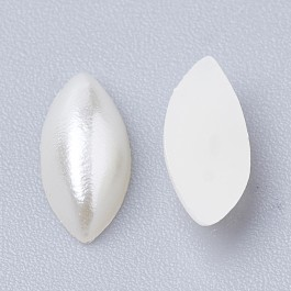 MC838: 200 pieces Horse Eye Beige ABS Plastic Imitation Pearl Cabochons 8x4mm [ Z3 ]