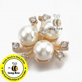 SA793: Ivory Light Gold Flower with Rhinestone & Pearl 20x21mm, 5 pieces [ B2 ]