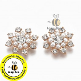 SA797: Crystal Light Gold Flower with Rhinestone & Pearl 23x23mm, 5 pieces [ B2 ]