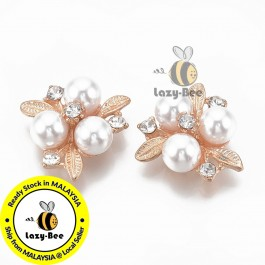 SA799: Ivory Light Gold Flower with Rhinestone & Pearl 23x23mm, 5 pieces [ B6 ]