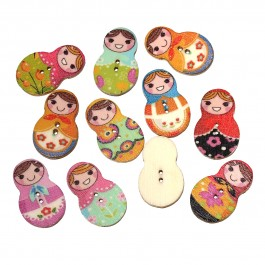 B56987: 50 pieces 30x19mm Russia Doll Matryoshka Wooden Buttons Cute Sewing Baby Craft DIY Scrapbooking Crafts [ B3 ]