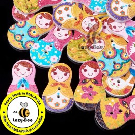 WB135: 50 pieces Russia Doll Matryoshka Wooden Buttons Cute Sewing Baby Craft DIY Scrapbooking Crafts 30.5x17.5mm [ B3 ]
