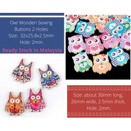 WB138: 50 pieces Cute Kawaii Comel Owl Wooden Buttons Cute Sewing Baby Craft DIY Scrapbooking Crafts [ B2 ]