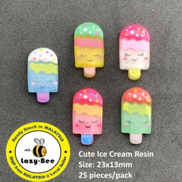 SA802: 25 pieces Cute Ice Cream Resin Cabochon Flat back DIY Craft Baby Brooch , 23x13mm