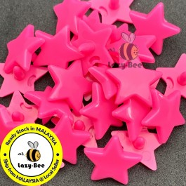 KM336: NEON PINK B47: STAR Shape KAM Glossy Snap Button, 50 sets [ L9 ]