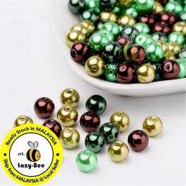 Choc-Mint Mix Pearlized Glass Pearl Beads 4mm / 6mm / 8mm Manik DIY Jewelry Finding Craft Making Jahitan Sulaman