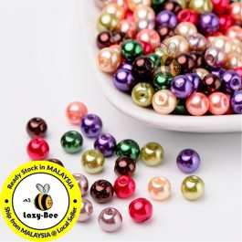 Fall Mix Pearlized Glass Pearl Beads 4mm / 6mm / 8mm Manik DIY Jewelry Finding Craft Making Jahitan Sulaman