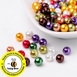 Luster Mix Pearlized Glass Pearl Beads 4mm / 6mm / 8mm Manik DIY Jewelry Finding Craft Making Jahitan Sulaman