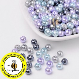 Silver-Grey Mix Pearlized Glass Pearl Beads 4mm / 6mm / 8mm Manik DIY Jewelry Finding Craft Making Jahitan Sulaman