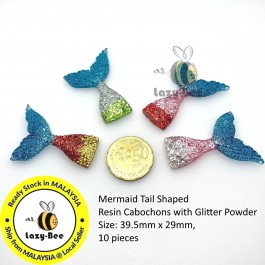 SA846: 10 pieces Mermaid Tail Shaped Resin Cabochons with Glitter Powder 39.5x29mm [ B4 ]
