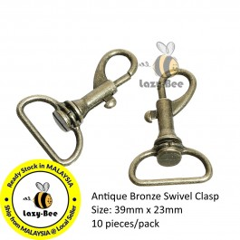 B75436: 10 pieces Zinc Based Alloy Key chain & Key ring Swivel Clasp Antique Bronze 39x23mm [ B12 ]