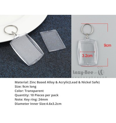 10 pieces Acrylic Frame Pendant Key chain & Key ring Silver Tone Transparent Clear DIY Craft