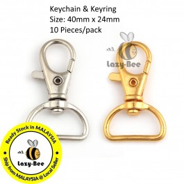 10 pieces Iron Based Alloy Key chain & Key ring Silver Tone / Gold Plated 40x24mm