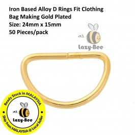 B0086171: 50 pieces Iron Based Alloy D Rings Fit Clothing Bag Making Gold Plated 24x15mm [ B6 ]