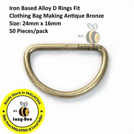 B0090274: 50 pieces Iron Based Alloy D Rings Fit Clothing Bag Making Antique Bronze 24x16mm [ A9 ]