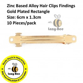 B0130395: 10 pieces 60x13mm Zinc Based Alloy Hair Clips Barrette Findings Gold Plated Rectangle DIY Hair Accessory [ C7 ]
