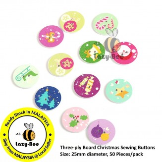 B0096379: 50 Pieces Three-ply Board Christmas Sewing Buttons Scrapbooking Cute Sewing Baby Craft DIY Crafts 25mm diameter [ C12 ]