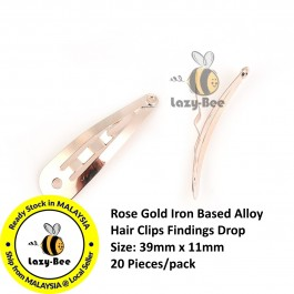 B0107895: 20 Pieces 39x11mm Rose Gold Iron Based Alloy Hair Clips Findings Drop DIY Hair Accessory 39x11mm [ B12 ]