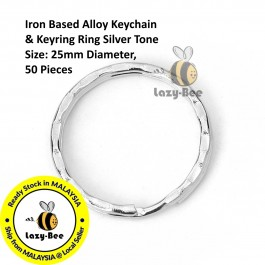 B0113330: 50 Pieces Iron Based Alloy Keychain & Keyring Ring Silver Tone 25mm Diameter [ C12 ]