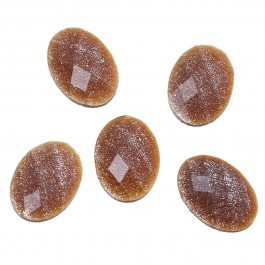 B67302: 100 Pieces Resin Dome Cabochon Oval Coffee Glitter Faceted 14x10mm [ B6 ]