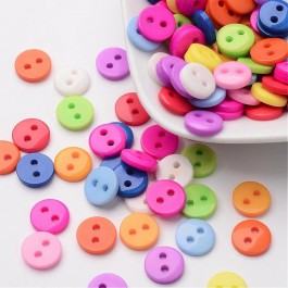 WB141: 200 pieces 9mm Resin Button Flat Round 2 Holes Button Sewing garment accessories [ A22 ]