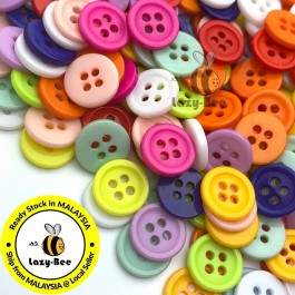 WB225: 200 pieces 11mm Candy Colorful Resin Button Flat Round 4 Holes Button DIY Scrapbook garment accessories Sewing Craft [ C18 ]