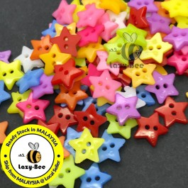 WB145: 100 pieces 12mm/ 16mm/ 19mm Star Acrylic Button DIY Plastic Craft Garment Accessory Butang Sewing