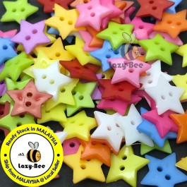 WB147: 100 pieces 19mm Star Acrylic Button DIY Plastic Craft Garment Accessory Butang Sewing [ C18 ]